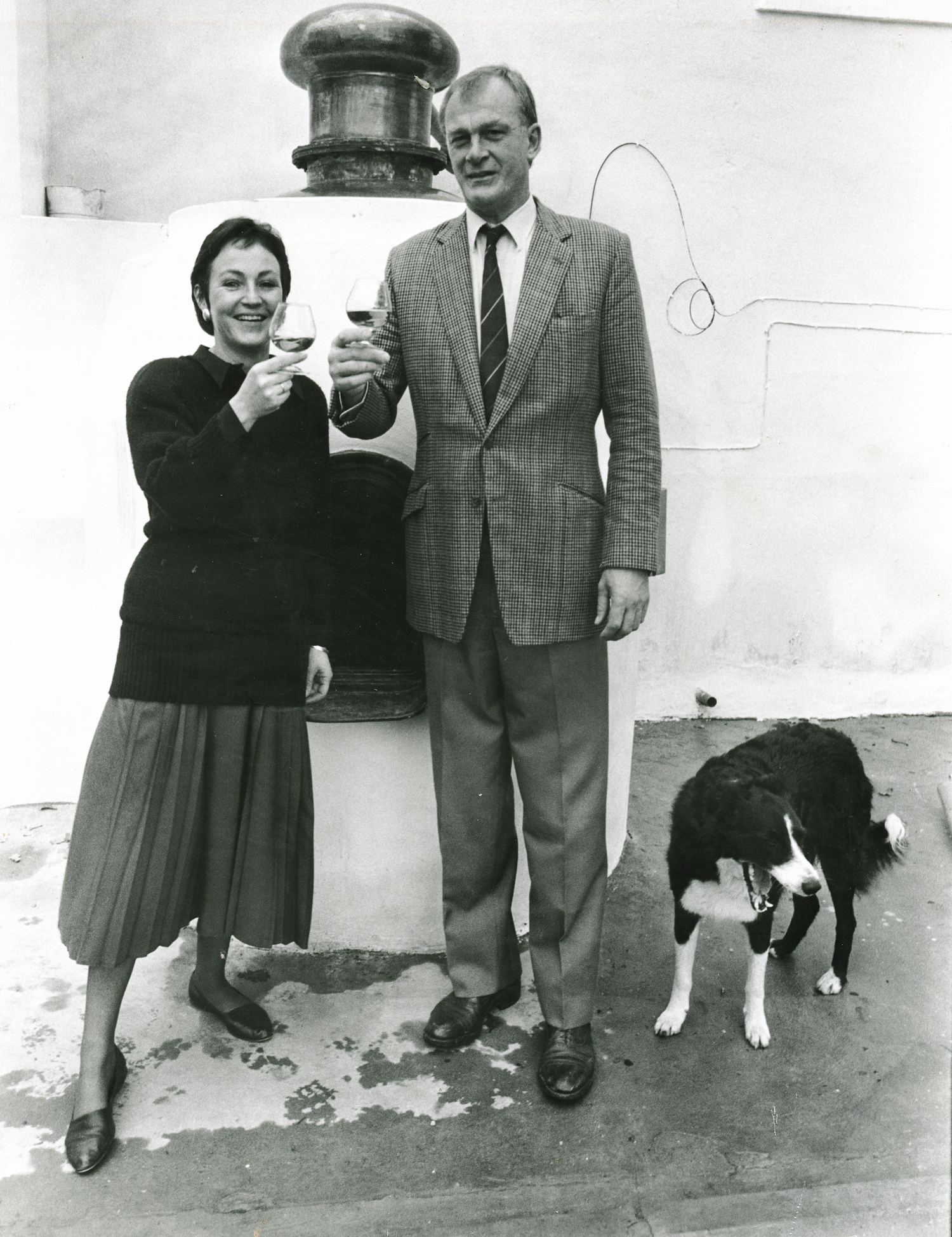 Before striking out on his own, Achim was responsible for launching Boschendal's Cap Classique. Here he toasts the success of the estate's bubbly with his wife, Hildegard.