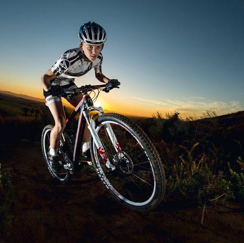 Mountain bikers Corne Barnard and Marie Kempf on their Silverback mountain bikes at Delvera MTB Trail near Stellenbosch, Western Cape, South Africa, RSA